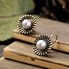 Fashion Pearl Sunrays Earrings Drops Studs Girls Ladies Boho Beach Bronze Gold