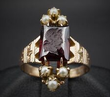 Antique Victorian 14k Yellow Gold Seed Pearl Garnet Intaglio Ring Size 5 RG873