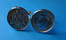 Pair Genuine Vintage .500 Silver Threepence  Cufflinks