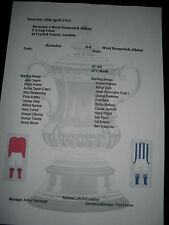 FA Cup Final 1912 Barnsley v West Bromwich Albion matchsheet