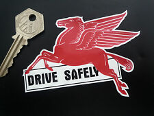 "MOBIL Pegasus DRIVE SAFELY Lick'n'Stick Window Sticker 4"" Retro Americana Car"