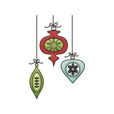 "Imaginisce ""Christmas Clear Acrylic Stamps ""Small Ornaments""  So easy to Use!!"