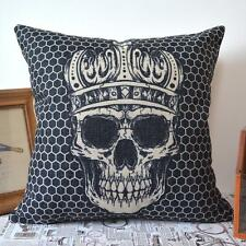 45*45cm Vintage Black Linen Style Skull with Royal Crown Geometry Cushion Cover