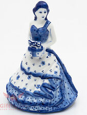 Gzhel Porcelain Victorian Lady in dress w present or cake Figurine Bell souvenir