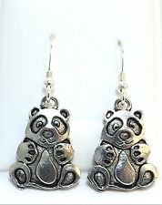 Pewter Panda Bear Charms on Sterling Silver Ear Wire Dangle Earrings -5508