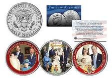 BRITISH ROYAL FAMILY 3-Coin Set US JFK Half Dollar PRINCE HARRY WILLIAM & GEORGE