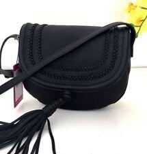 NWT Vince Camuto Tassi Black Leather Tassel Crossbody Shoulder Bag Purse $198
