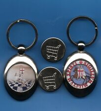 2 Knights Templar Trolley Coin Keyring s Seal Crusader