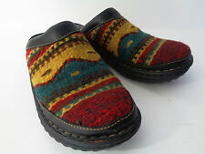 BORN Womens US 8M EUR 39 Native American Indian Blanket Wool Leather Clog Shoe