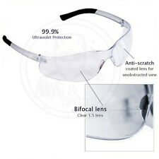 (3 Pack) Bifocal Safety Glasses Clear 1.5 Diopter Reader Safety Glasses