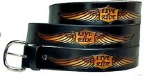 MOTORCYCLE YAMAHA HONDA BIKER LIVE TO RIDE SHIELD  HARLEY LEATHER BELT w BUCKLE