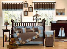UNIQUE DISCOUNT BROWN AND BLUE BOUTIQUE DESIGNER 9pc BABY BOY CRIB BEDDING SET