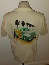 Vintage 1982 Ocean Pacific OP Woody Wagon Graphic Hawaiian Shirt Size L