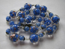 Vintage Deco Venetian Sommerso Glass Beads Necklace Aventurine Blue