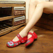 Womens Chinese Embroidered Flower Lady Flat Shoes Mary Jane Ballet Cotton Pump B