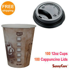 SunnyCare 100pcs 12 oz Hot Coffee Paper Cups and 100pcs Black Cappuccino Lids