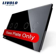 2 Fach Glas Abdeckung für Touch Lichtschalter Livolo Schwarz Kristall Glas 2G+2G