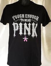 NWT Mens Wrangler Tough Enough To Wear Pink S/S Graphic Black T Shirt Small New