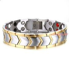 """New Men's Stainless Steel Magnetic Health Therapy Care Energy Bracelet Gift 8.2"""""""