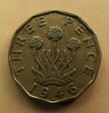 1946 BRASS THREEPENCE COIN. KING GEORGE VI and RARE VF