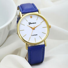Geneva Women WATCHES Stylish Design Leather Band Analog Quartz BLACK Watch DZ070