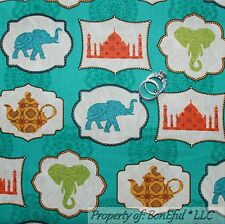 BonEful Fabric FQ Cotton Quilt Aqua Gold India Tea Pot US Elephant Damask Flower