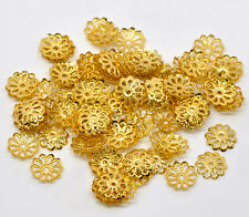 800 GOLD PLATE FLOWER BEAD END CAPS 9mm JEWELLERY MAKING BEADING FINDINGS (78A)