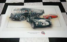 MG MGA AUSTIN HEALEY 3000 LE MANS & TRANSPORTER BUS 1955 NEW PAINTING PRINT ART