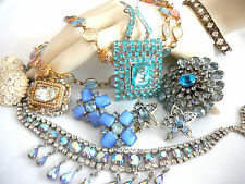 VINTAGE/ESTATE JEWELRY LOT-RHINESTONE BROOCHES-NECKLACES-EARRINGS-PENDANT-CORO