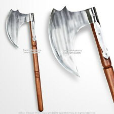 "28"" Iron Short Viking Battle Axe Medieval Saxon Hatchet LARP Renaissance Costume"