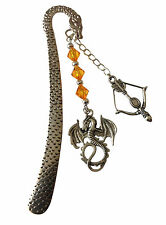 GAME OF THRONES THEMED  HANDCRAFTED BOOKMARK, ORANGE TONES -  SAME DAY POSTAGE