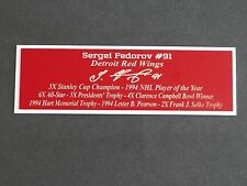 Sergei Fedorov Autograph Nameplate Detroit Red Wings Auto Puck Jersey Photo