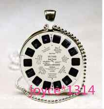 Viewmaster Reel Cabochon Tibetan silver Glass Chain Pendant Necklace &XP-1070