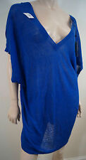 BY MALENE BIRGER Royal Blue Linen Blend Fine Knit V Neck Tunic Jumper Top S BNWT