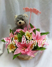 SILK FLOWER 'IT'S A GIRL' BASKET OF FLOWERS WITH TEDDY BEAR GIFT PRESENT NEW MUM