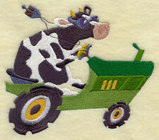 COW RACER ON TRACTOR -- MACHINE EMBROIDERY QUILT BLOCK (AZEB)