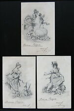1900's ARTIST SIGNED Postcard BUONA PASQUA Happy Easter Lot ~ 3 Postcards ~ UDB