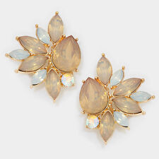 "1.75"" gold opal topaz crystal rhinestone clip on earrings bridal non pierced"