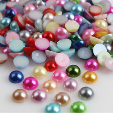 2000pcs Half Round Bead Flat Back Acrylic Pearl Scrapbooking Embellishment 4mm d
