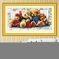 Bear Family Pattern Counted Cross Stitch Kits Embroidery Set Room Decor 66*38cm