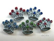 wholesale 50pcs 8mm colored crystal crown slide Charm Fit Pet Collar Wristband
