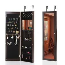 Hanging Mirror Jewelry Cabinet Wall Door Mounted Armoire Organizer Espresso O7B8