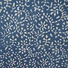 Hand Block Print Indian Cotton Voile Sewing Fabric Blue Material By The Yard