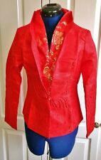 SIZE 10.FAB CHINESE SILK FITTED JACKET-red & gold SILK, LINED,MANDARIN COLLAR