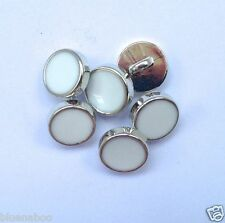 5 x dress shirt buttons white with silver trim shank on back 8mm