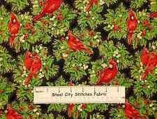 Holiday Dazzle Red Cardinal Bird Christmas Gold Accent QT Cotton Fabric YARD