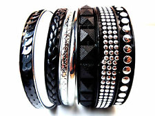 COOL BLACK SILVER RETRO TRENDY MULTI BRACELET BANGLE SET BRAND NEW STYLISH(SR6)