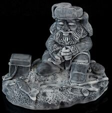 Old Ice Fisherman Marble Figurine Highly Detailed Russian Stone Art Sculpture