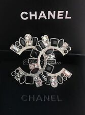 NWT CHANEL TIMELESS CLASSIC Jet Black Crystal XXL Brooch CC Happy Emoji 2016 NEW