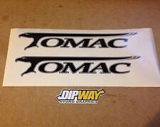 2x Black TOMAC Stickers For Bicycle Bike Primer, 6 Shooter Mtb - 25cm X 4cm Each